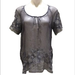 NWT 4 Love and Liberty sheer gray blouse, medium
